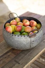 Large Urban Style Rustic Reclaimed Metal Bowl with Handles,14'' x 7.5''H.