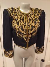 Silk Jacket Small S Black Gold Blazer Embroidered Vintage
