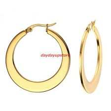 Top Quality Women's Gold 316L Stainless Steel 35mm Flat Ring Hoop Earring Studs