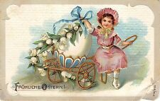 BG20023 girl with egg and flower embossed   ostern easter  germany