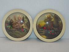Lot of 2 Vintage Round Convex Bubble Glass Domed Framed Art Prints Dried Flowers