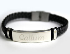 CALLUM - Bracelet With Name - Leather Braided Engraved - Gifts For Him