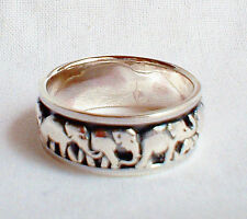 Lucky Elephant Spinning Worry Ring Solid 925 Silver Jewellery Size W US Sz 11.5
