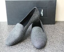 NIB YSL SAINT LAURENT PARIS SUGAR CHANGY BLK MOON GLITTER TUXEDO Flat Shoes 38.5