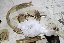 WHITE VINTAGE BABY Toddler Headband girl Newborn Shabby Flowers christening