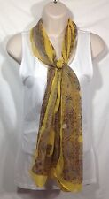 Sheer Bright Yellow Brown Paisley Scarf Shawl Scarves Neck Wrap 20 x 60