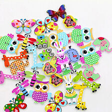 50Pcs 2 Holes Wooden DIY Amazing Mixed Animal Buttons Sewing Craft Scrapbooking