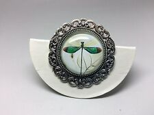 Green dragonfly Brooch Badge Lapel Pin Antique Silver 35mm Diameter + gift bag