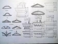ARCHITETTURA,DISEGNI,ORNAMENTI,STILE IONICO,DORICO,DECOR,INCISIONE,STAMPA ANTICA