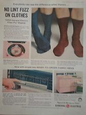 Vintage GE General Electric Wash To Order Fabric Keys Socks Pink Original Ad