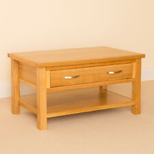 Newlyn - Oak Small Coffee Table / Drawer & Shelf / Light Oak Modern Coffee Table