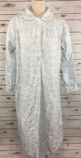Lanz of Salzburg Long Cotton Flannel Nightgown S White Blue Rose Print Lace Trim