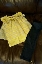 Girls Little Lass Yellow Striped Gray Outfit Size 4T EUC