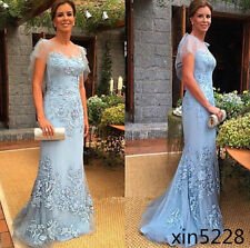 Blue Mother of the Bride Groom Dress Evening Party Formal Prom Lace Gown Custom