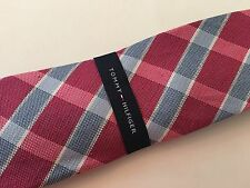 Tommy Hilfiger Men's Plaid neck Tie NWT Madras Pink Linen and silk Ret $65