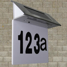 Solar Powered 4 LED House Address Number Stainless Steel Doorplate Light Lamp FM