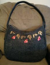 Linea Pelle Handbag Gray Wool look Embroidered Flowers New with Original Tag