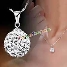 Women Crystal Necklace Chain Silver 925 Fashion Plated Pendant Jewelry