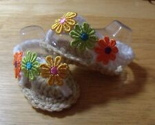 BABY SANDALS FLIPFLOP HAND CROCHET 0-3 MONTHS TAN/ WHITE by ROCKY MOUNTAIN MARTY