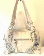 Kathy Van Zeeland Off White Ivory Satchel Shoulder Bag Studded Fringe Pull Large