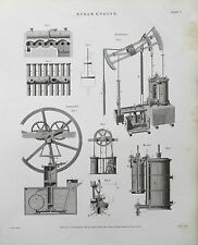 1818 Steam Engines Hornblower's Cartwright's Woolf's Antique Print Rees