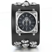 Punk Rock Skull Sword Wide Leather Band Bracelet Mens Analog Quartz Wrist Watch