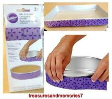 WILTON BAKE-EVEN STRIPS Set of 2 - PURPLE - Bake Moist Level Cakes Every Time
