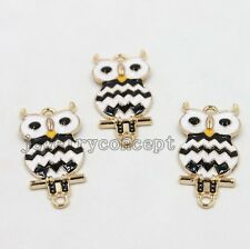 10pcs Wholesale Black&White Enamel Owl Connector Alloy Pendants Jewelry Charms J
