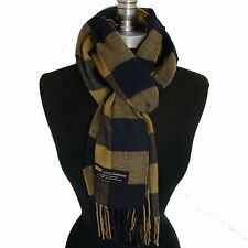 New 100% Cashmere Scarf Coffee Dark Blue Check Plaid Scotland Wool Wrap #Fr07