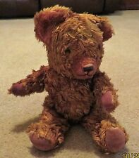 "Teddy Bear UK Brown Cotton Blend Plush 12"" Jointed Velvet Pads c1950s Vintage"
