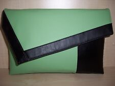 OVER SIZED BLACK & MINT GREEN  faux leather asymmetrical clutch bag, UK made