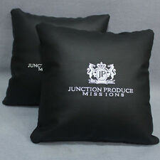 2x New JUNCTION PRODUCE Black Leather JP VIP Auto Car Seat Throw Pillow Cushions