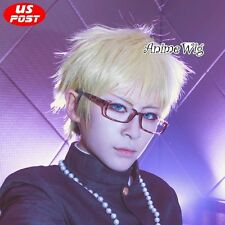 Anime ZONE-00 Ango Shima Short Light Blonde Straight Hair Men Cosplay Wig