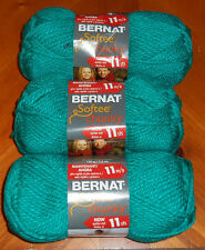Bernat Softee Chunky Yarn Lot Of 3 Skeins (Emerald #28200)