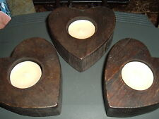 WOODEN  HEARTS CANDLE  HOLDERS    SET OF THREE (3)  DARK STAINED   TEA LIGHTS