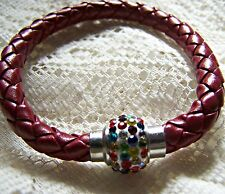 MAGNETIC~ SHAMBALLA_BEAD~ RED/BROWN ~ LEATHER ~ BRACELET. (GREAT_GIFT