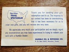1950s Humble Oil Refining Gift Redemption Mailing Reply Postcard Houston TX