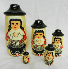 Traditional Welsh Ladies - Hand Painted Russian Doll Set - 5 Dolls - BNWT