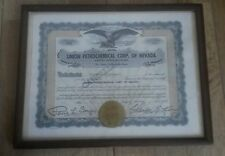 Framed Union Petrochemical Corp of Nevada stock share certificate