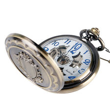 Steampunk Mens Skeleton Mechanical Shield Vintage Pendant Pocket Watch Xmas Gift