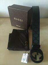 Authentic Black Gucci GG Imprimé Belt with interlocking G 95cm fits 32-34