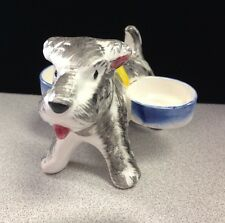 OCCUPIED JAPAN DOG RING HOLDER -SCOTTIE DOG WITH 2 BOWLS