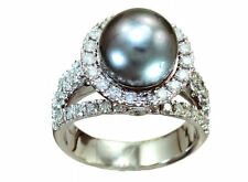 0.90ctw Diamond and Tahitian Pearl Set in 18K White Gold Ring