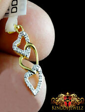 Women's New Yellow Gold Genuine Diamond 3 Heart Charm Pendant Chain Necklace Set