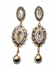 Long Art Deco Nouveau Edwardian Style Earrings Pewter Silver Old Gold Drop 1121
