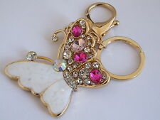HANDBAG BUCKLE CHARMS PINK CRYSTAL & WHITE ENAMEL BUTTERFLY KEYRINGS KEY CHAIN