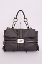 LANVIN Dark Grey Leather Silver Buckle Flap Satchel Shoulder Bag Medium Purse