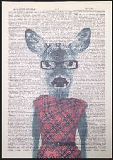 Vintage Deer Doe Print Dictionary Page Wall Art Picture Red Tartan Dress Lady