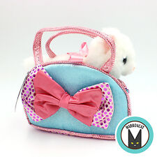 Aurora World Fancy Pals Blue Bows Pet Carrier Girls Plush White Cat Handbag Toy