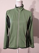 V7553 Oleg Cassini Sport Green/Black Striped Zip Polyester Track Jacket Women M